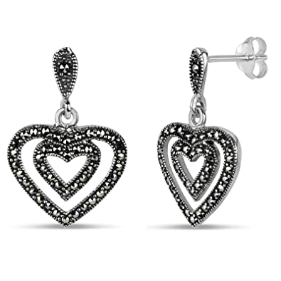 f300d541e Image Unavailable. Image not available for. Color: Sterling Silver  Marcasite Drop Earrings ...