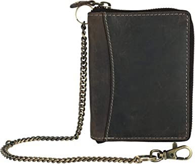 Brown CTM/® Mens Crazy Horse Leather RFID Long Trifold Chain Wallet
