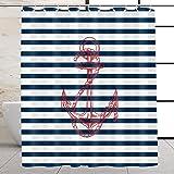 VEGA U Anchor Fabric Shower Curtain for Bathroom, Nautical Stripe Bath Decor with Hooks, Hotel Quality, 72x72 Inch, Navy Blue