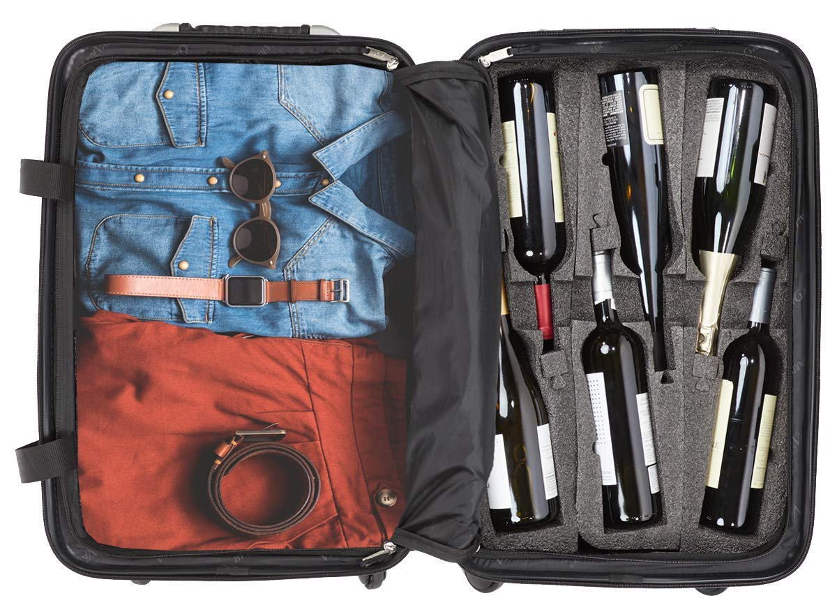 VinGardeValise - Up to 12 Bottles & All Purpose Wine Travel Suitcase (Black) by VinGardeValise (Image #4)