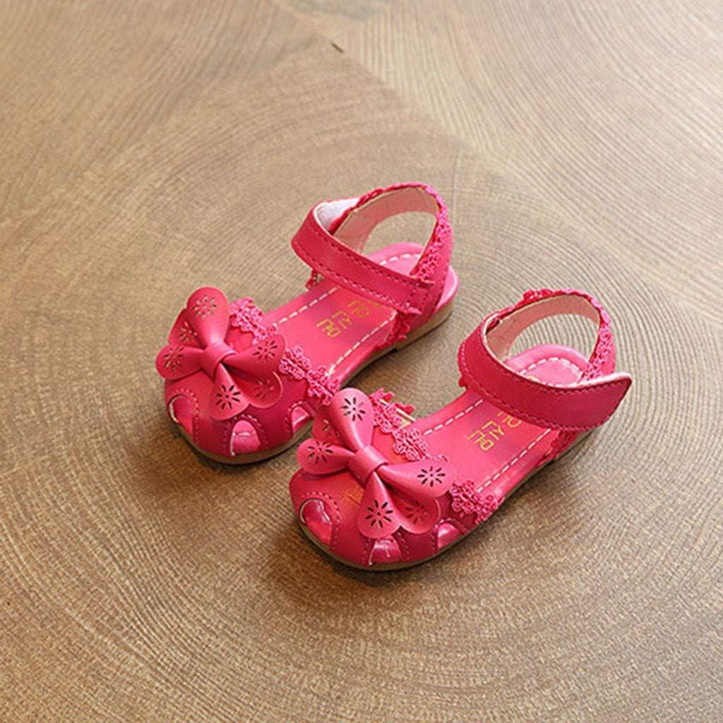 Infant Sandals FAPIZI Toddler Kids Baby Girls Floral Bowknot Single Shoes Princess Roman Shoes Casual Flats Hot Pink
