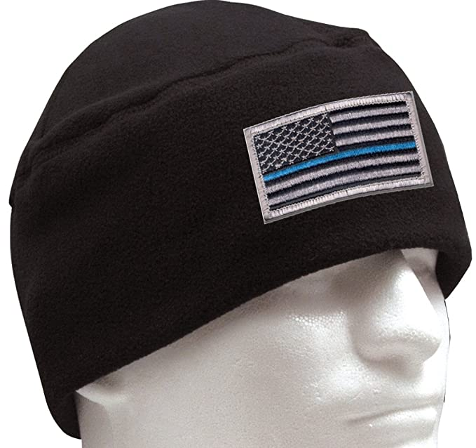 Rothco Polar Fleece Watch Cap with Thin Blue Line Flag Patch Bundle (Black) 1ce172dbe52