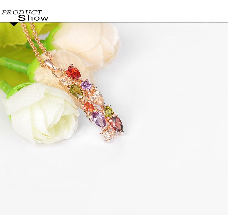 AnazoZ Juego de Joyas Mujer 18k Chapado en Oro Rosa Pendientes Collar Anillo Gota Cristal Multicolor Juegos de Joyas Oro Rosa Anillo Talla 9,5-20