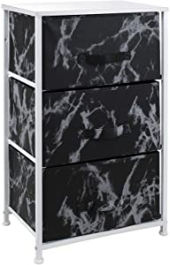 Sorbus Nightstand with 3 Drawers - Bedside Furniture & Night Stand End Table Dresser for Home, Bedroom Accessories, Office, College Dorm, Steel Frame, Wood Top (Marble Black – White Frame)