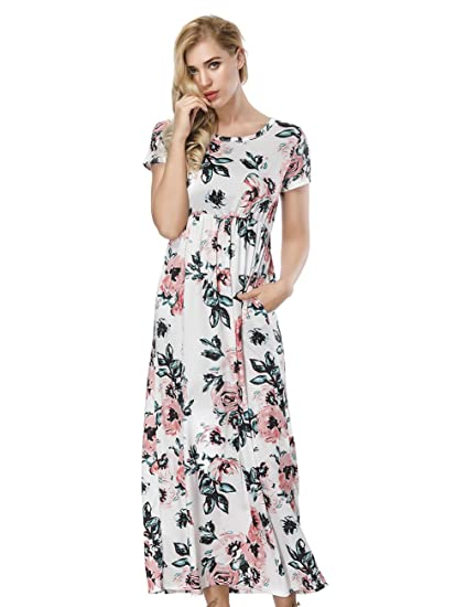 ed8207a0204 FLYCOOL Floral Print Summer Beach Long Maxi Dresses Ladies Elegant Short  Sleeve with Pockets for Beach