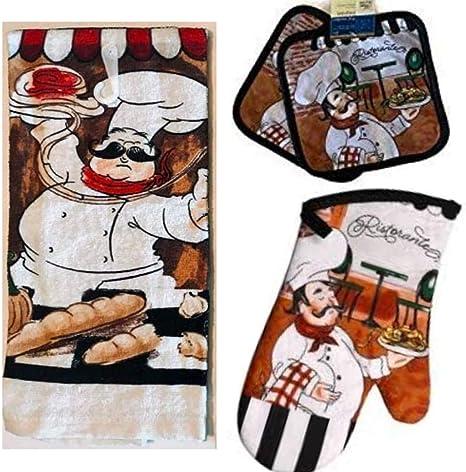 Amazon Com Chef Decor Towel Linen Set 4 Pc Fun Fat Spaghetti Ristorante Cafe Themed Kitchen 2 Potholders 1 Oven Mitt Mitts Decorations Home