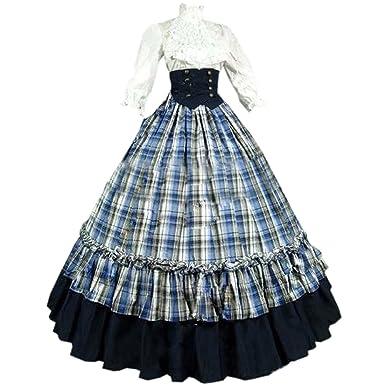Amazon.com  Partiss Women s Cotton Floor-Length Gothic Victorian ... 0b25fff2b680