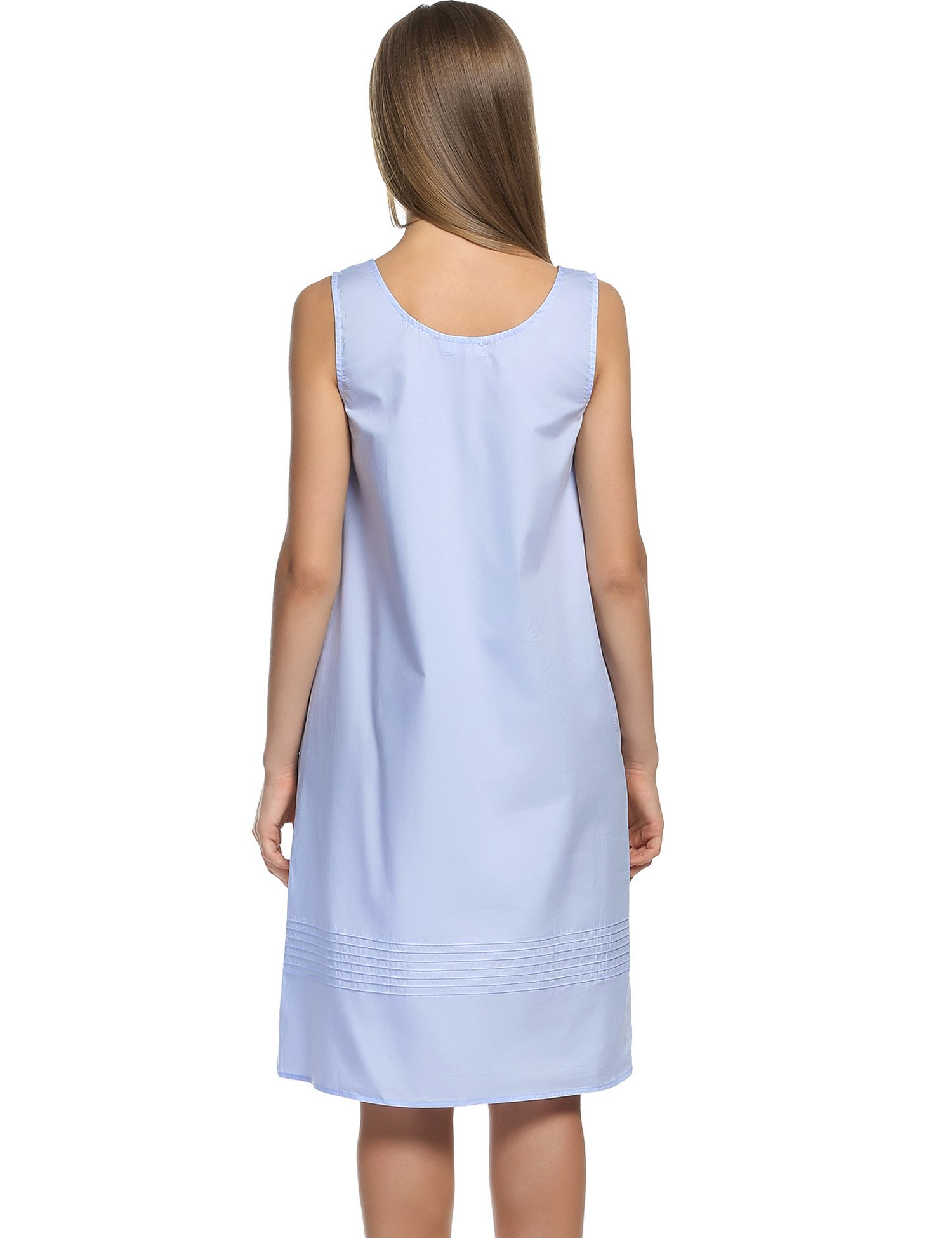 Hotouch Women's Plus-Size Sleep Shirt Lightweight Nightgowns Light Blue L by Hotouch (Image #5)