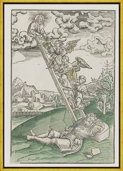 Berkin Arts Marco Lucas Cranach The Elder Giclee Lienzo Impresión Pintura póster Reproducción Print(El sueño de Jacob de una Escalera al Cielo.) #XLK: Amazon.es: Hogar