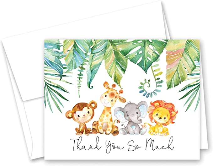 ENVLPS JUNGLE ANIMALS 5 PERSONALISED CHILDRENS BIRTHDAY PRESENT THANK YOU CARDS