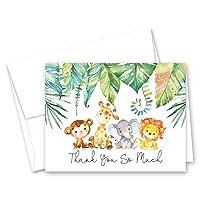 Blue Elephant Jungle Animals Baby Shower Thank You Cards - Set of 50 …