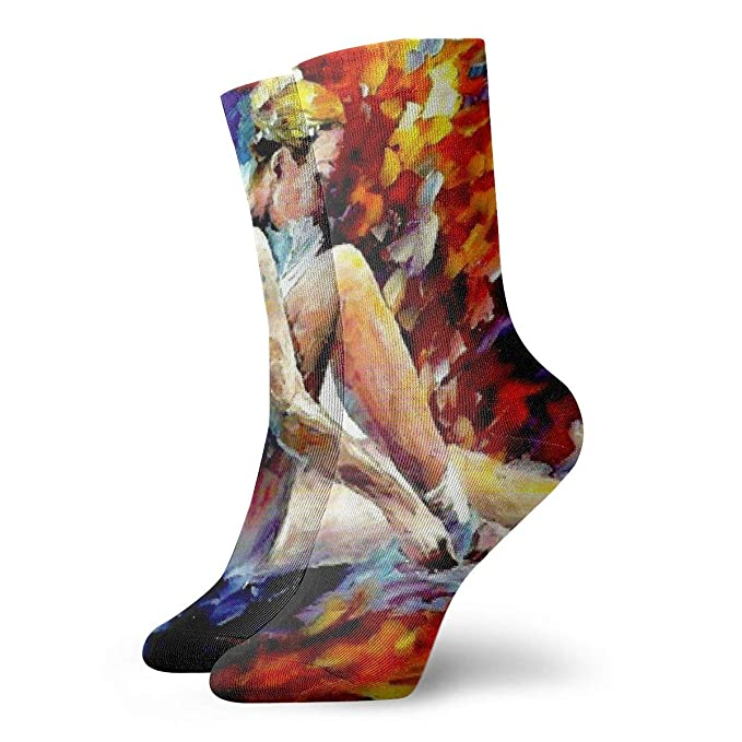 bbc9394ac87d0 Amazon.com: COKKI Ballet Dancer Colorful Art Fashionable Crew Socks ...