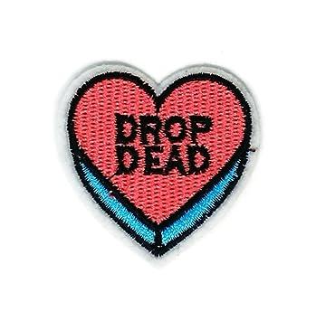 Parche bordado con diseño de corazón, color rosa, azul, para coser, planchar. Pasa ...