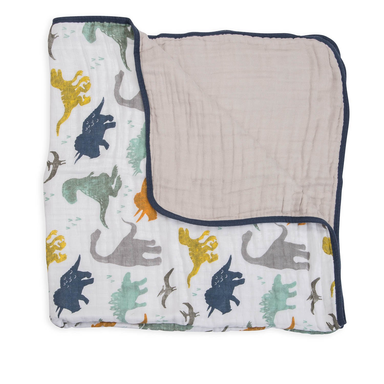 Dino Friends 1 pack Little Unicorn Baumwoll-Musselin Steppdecke