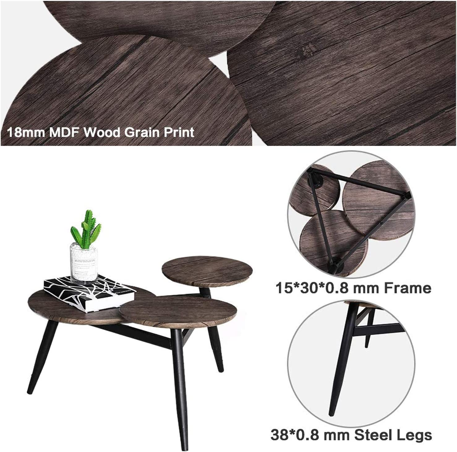Aingoo Small Coffee Table Round Mid Century Vintage with Metal Frame Side End Table Nightstand for Living Room Balcony Home and Office Brown