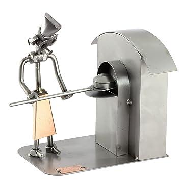 Steelman24 I Figurine en métal Boulanger I Made in Germany I Idées Cadeaux I Sculpture d