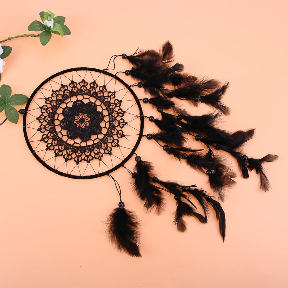 Demiawaking Handmade Floral Black Dream Catcher Hanging with Feathers and Beads Car Wall Hanging Ornaments Decor Crafts