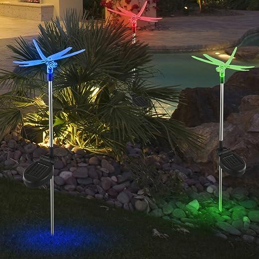 Luminaire solaire LED libellule changeur couleur jardin terrasse extérieur IP44