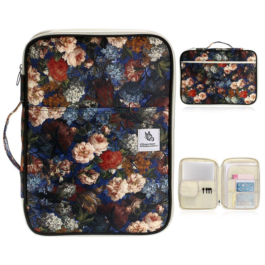 BTSKY, custodia per documenti, formato A4, borsa da viaggio multifunzione, portfolio, borsa per organizzare i documenti, per trasportare iPad, computer, penne, documenti, ecc Red Leaf