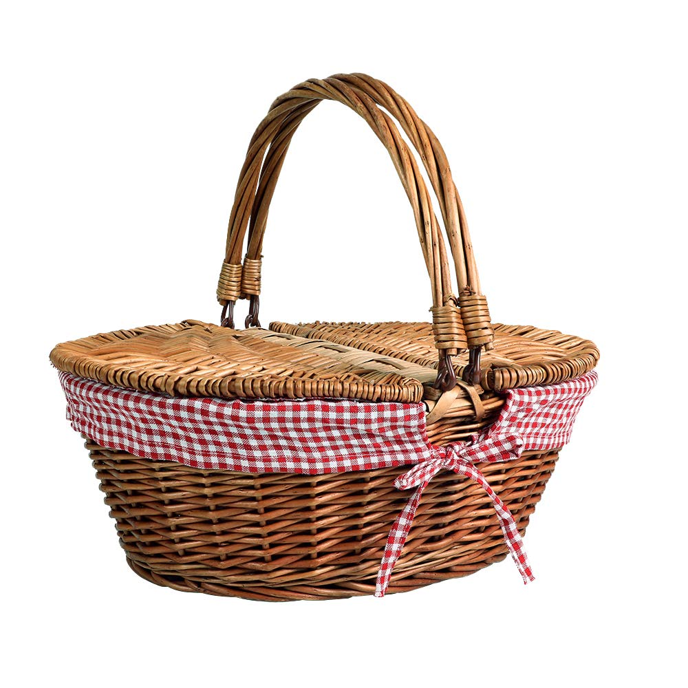 Display4top Oval Wicker Picnic Basket,Utility Storage Baskets with Folding Handles & Liners for Picnics Liner Holiday Camping Parties and Decoration (15.8'' x 11.8'' x 7.9'') by Display4top