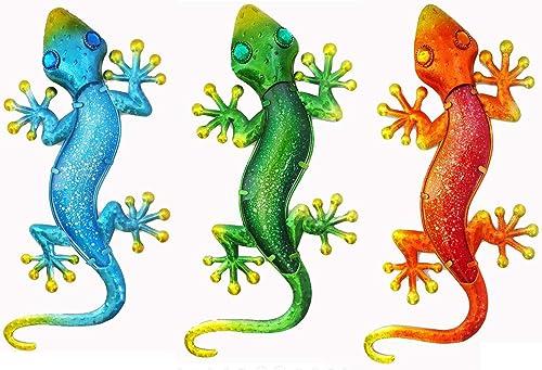 Liffy Metal 3 Packed Gecko Outdoor Wall Decor Lizard Garden Art Hanging Glass Decoration