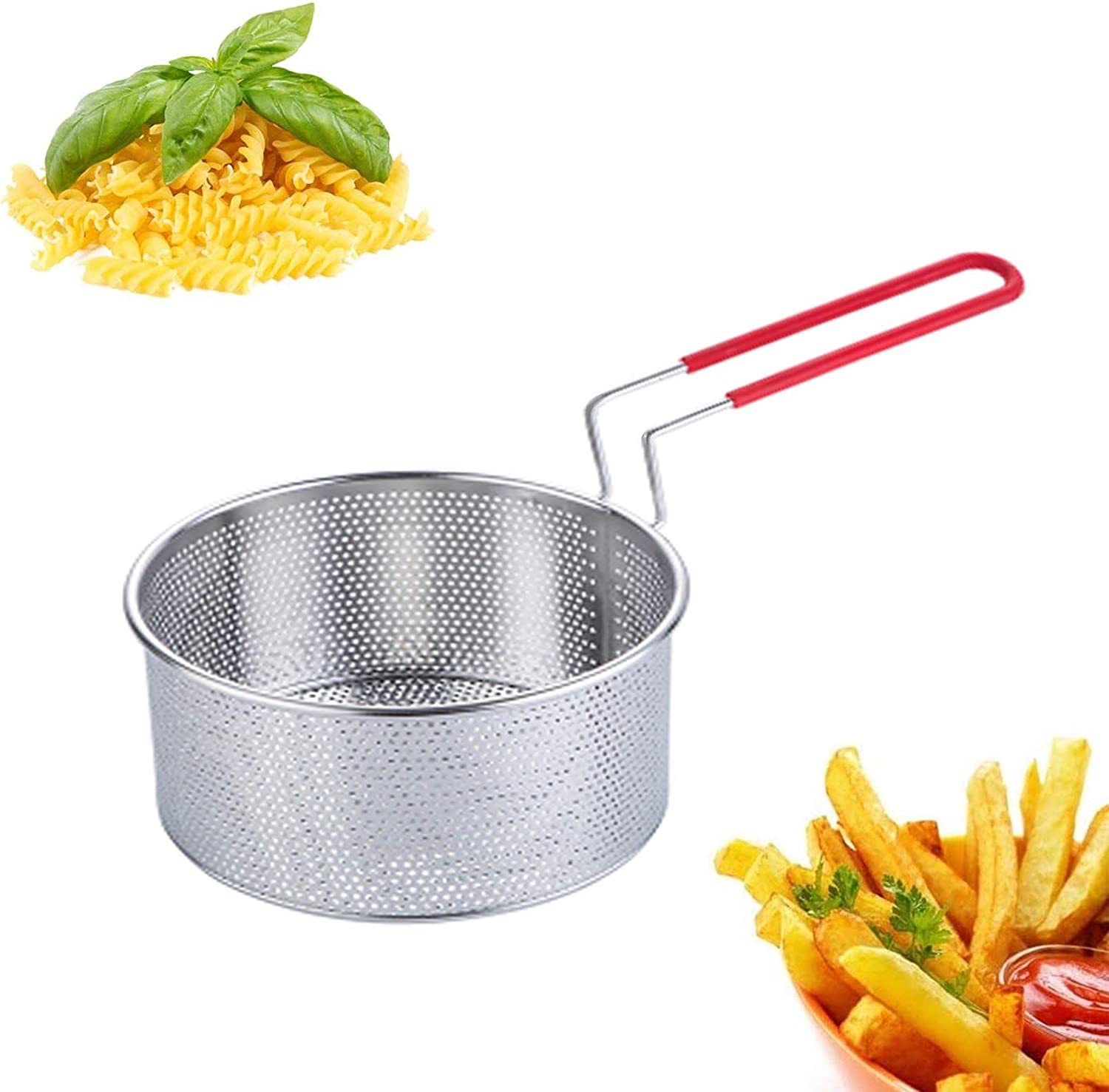 Deep Fry Basket—Stainless Steel Turkey Frying Baskets for Pot Mini Fish Fryer Strainer with Handle 7 Inch Anti Rust Round Wire Skimmer of Equal Mesh Holes Hand Held Strainers for Kitchen