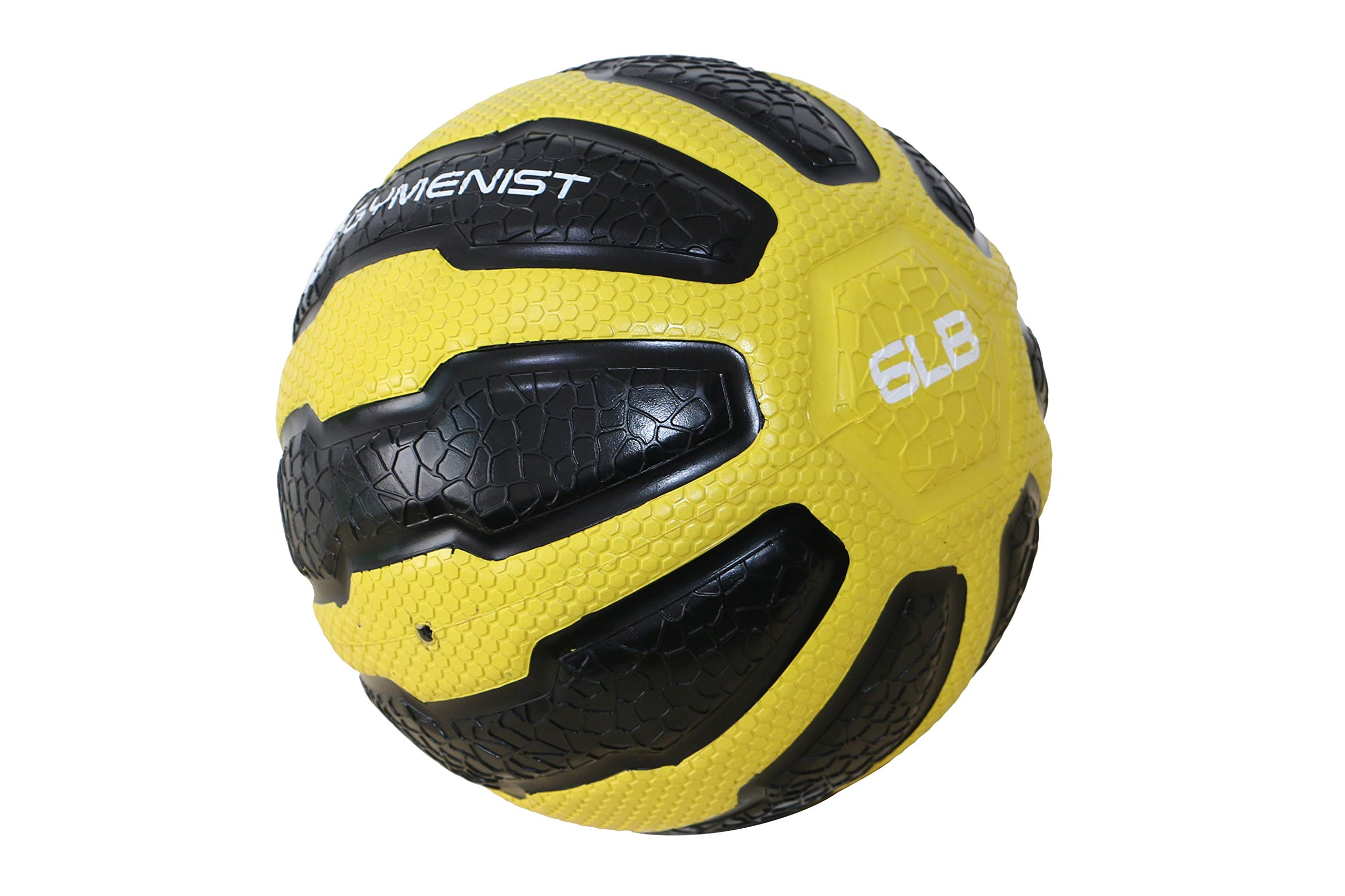 GYMENIST Rubber Medicine Ball with Textured Grip, Available in 9 Sizes, 2-20 LB, Weighted Fitness Balls,Improves Balance and Flexibility - Great for Gym, Workouts, (6 LB (Yellow-Black))