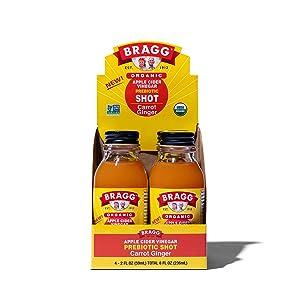Bragg Organic Apple Cider Vinegar Shot with Carrot Ginger – 2 Oz ACV Shot – USDA Certified Organic , 4 Pack