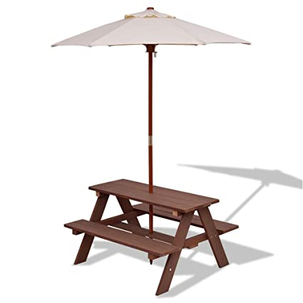 DUSTNIE Kids Picnic Table W/Umbrella   Outdoor Wood Patio Furniture Children  Toddler Toys Benches