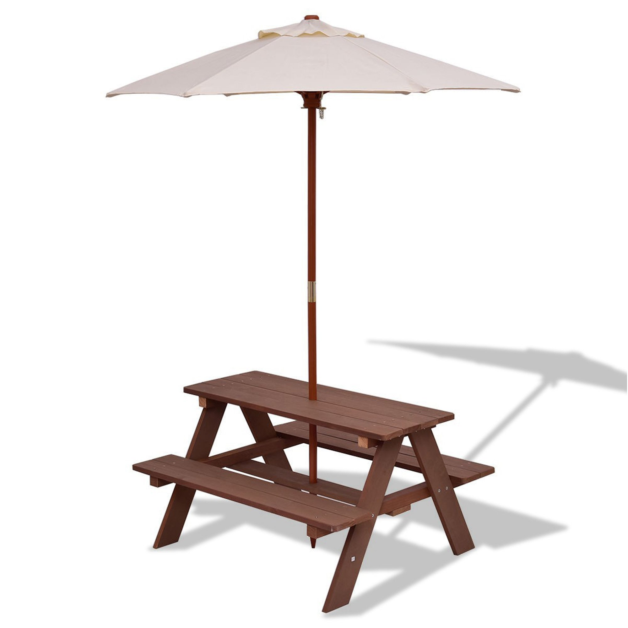 DUSTNIE Kids Picnic Table W/Umbrella - Outdoor Wood Patio Furniture Children Toddler Toys Benches Chairs Patio Garden Backyard Front Porch Pool