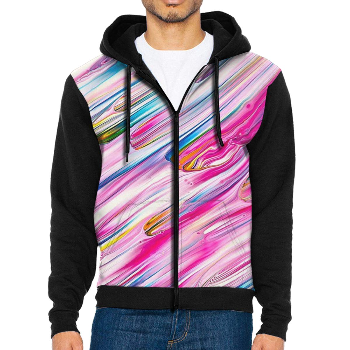 MHBGMYES Color Mixture Lightweight Mans Jacket with Hood Long Sleeved Zippered Outwear