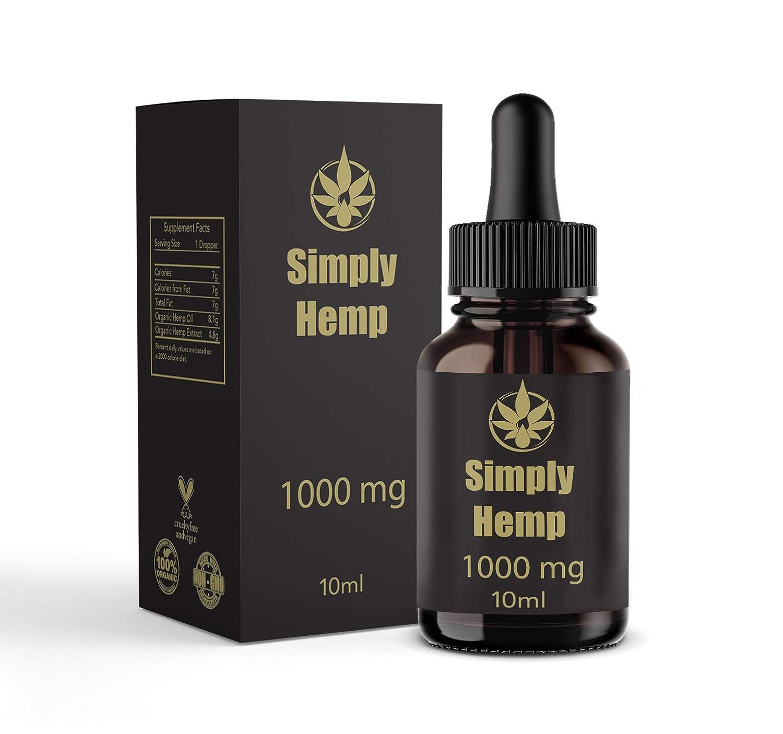 Gotas de aceite de cáñamo Simply Hemp 10% ~ 1000 mg | 10 ml | Ayudan a reducir el estrés, la ansiedad y el dolor