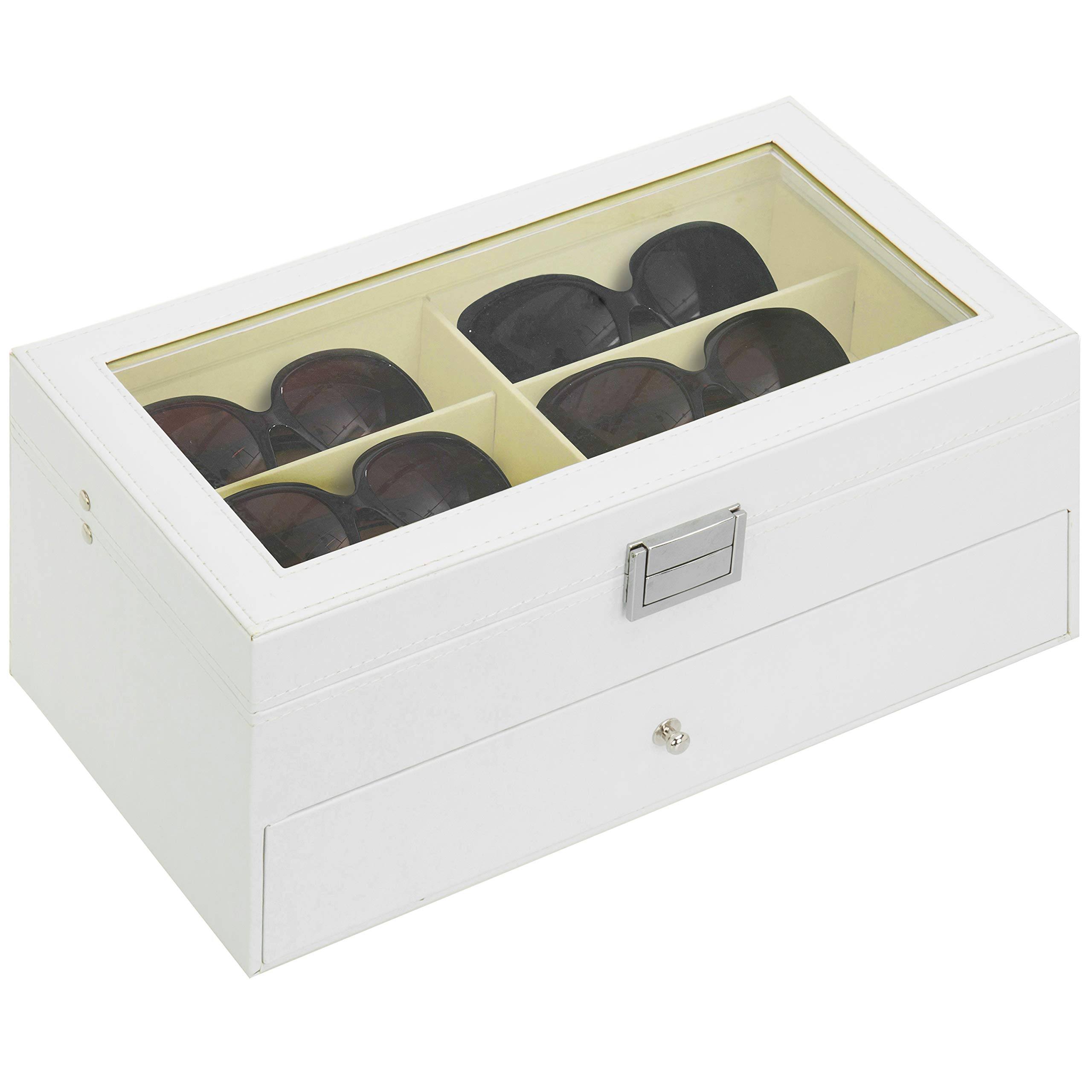 MyGift Deluxe White 12-Compartment Sunglasses Display Case with Glass Lid and Leatherette Trim by MyGift