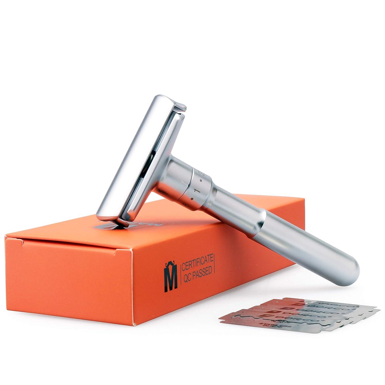 MANION M5 Matte Silver Long Handel Adjustable Double Edge Classic Safety Razor
