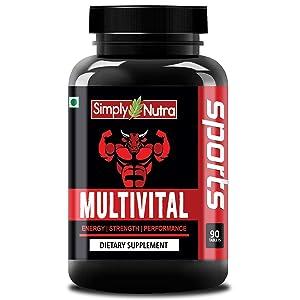 Simply Nutra Multivital MultiVitamin Sports with 60+ Nutrients - 90 Tablets (Vitamins, Minerals & Amino Acids) & Probiotics