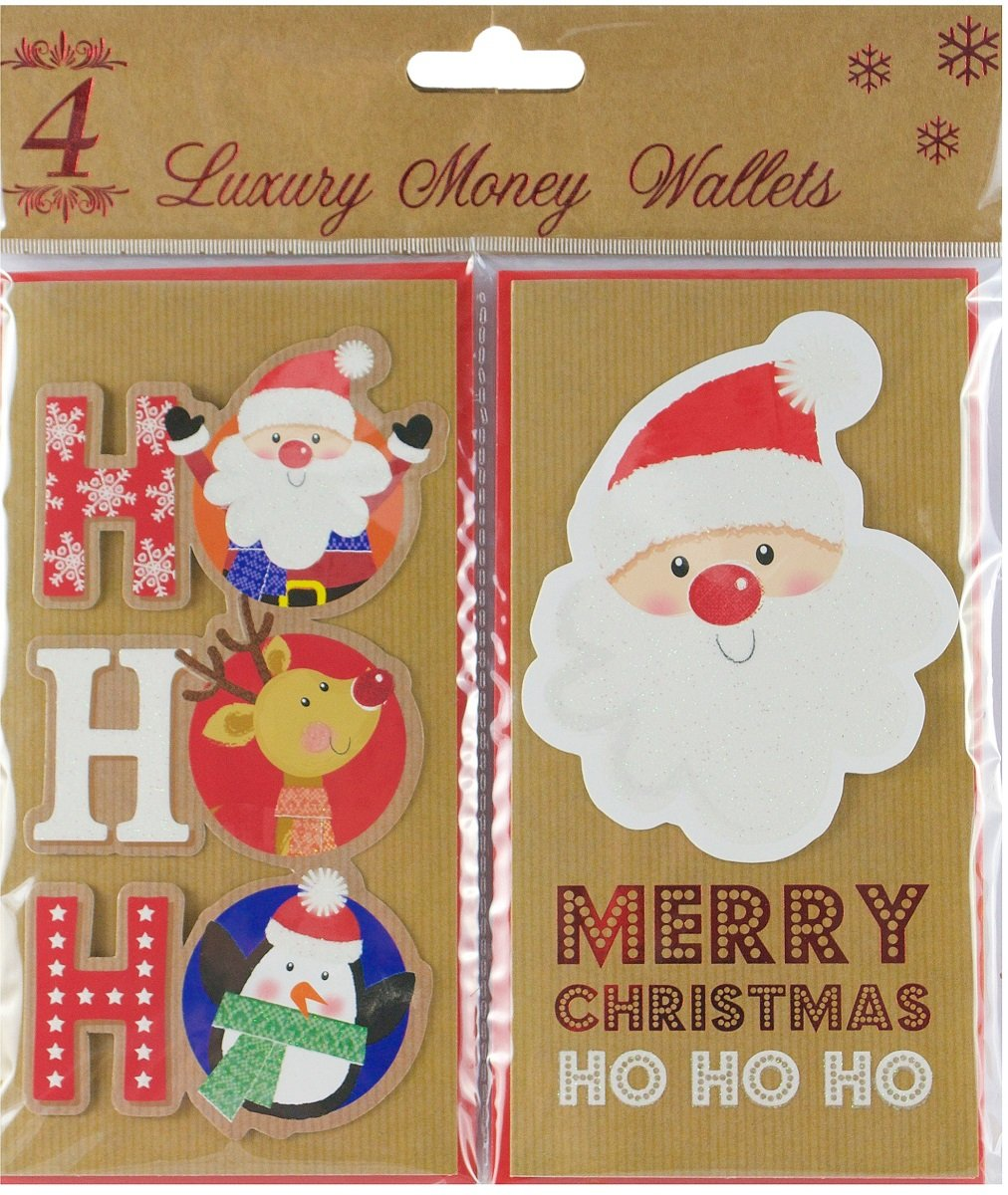 4 x Contemporary Christmas Money Wallets Cards 17.5cm x 9cm With Envelopes