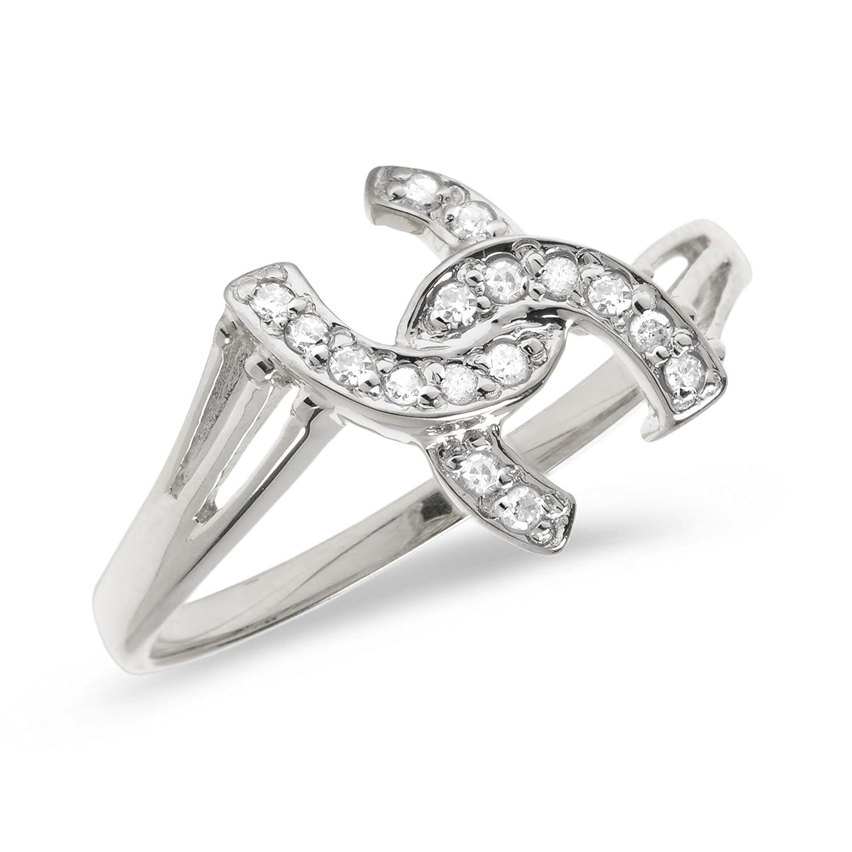 Amazoncom 10K White Gold Diamond Horseshoe Ring Promise Rings