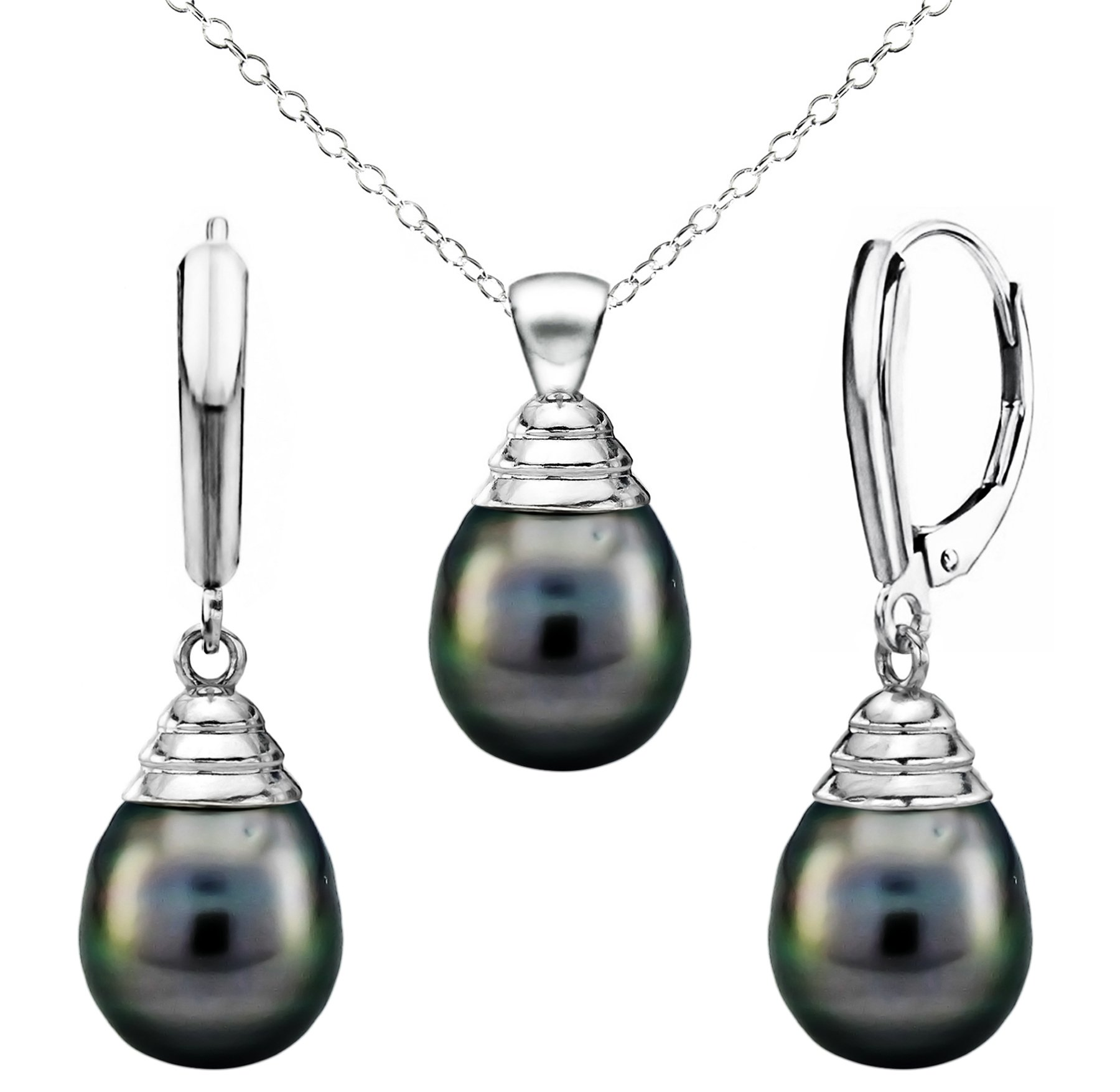 Sterling Silver 10-10.5mm Black Off Shape Tahitian Cultured Pearl Pendant and Lever-back Earrings, 18''