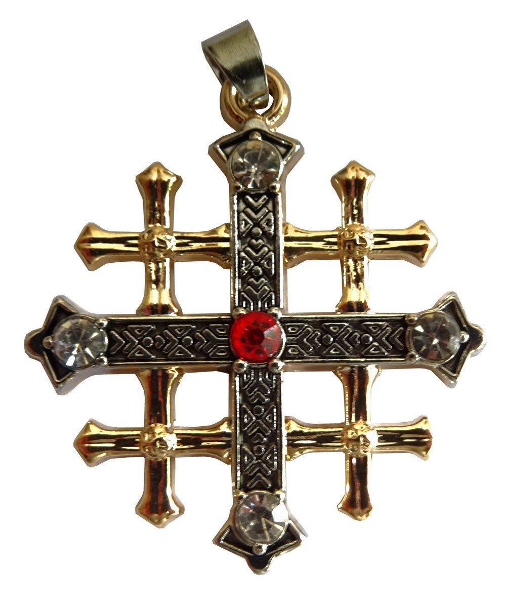 Religion Chrétienne Rare et fine Copie Croix de Jérusalem période médiévale avec Cabochons en acier 2 tons et Chaîne serpent. Envie Bijoux