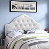 Modway Sovereign Tufted Button Faux Leather Upholstered King Headboard in White