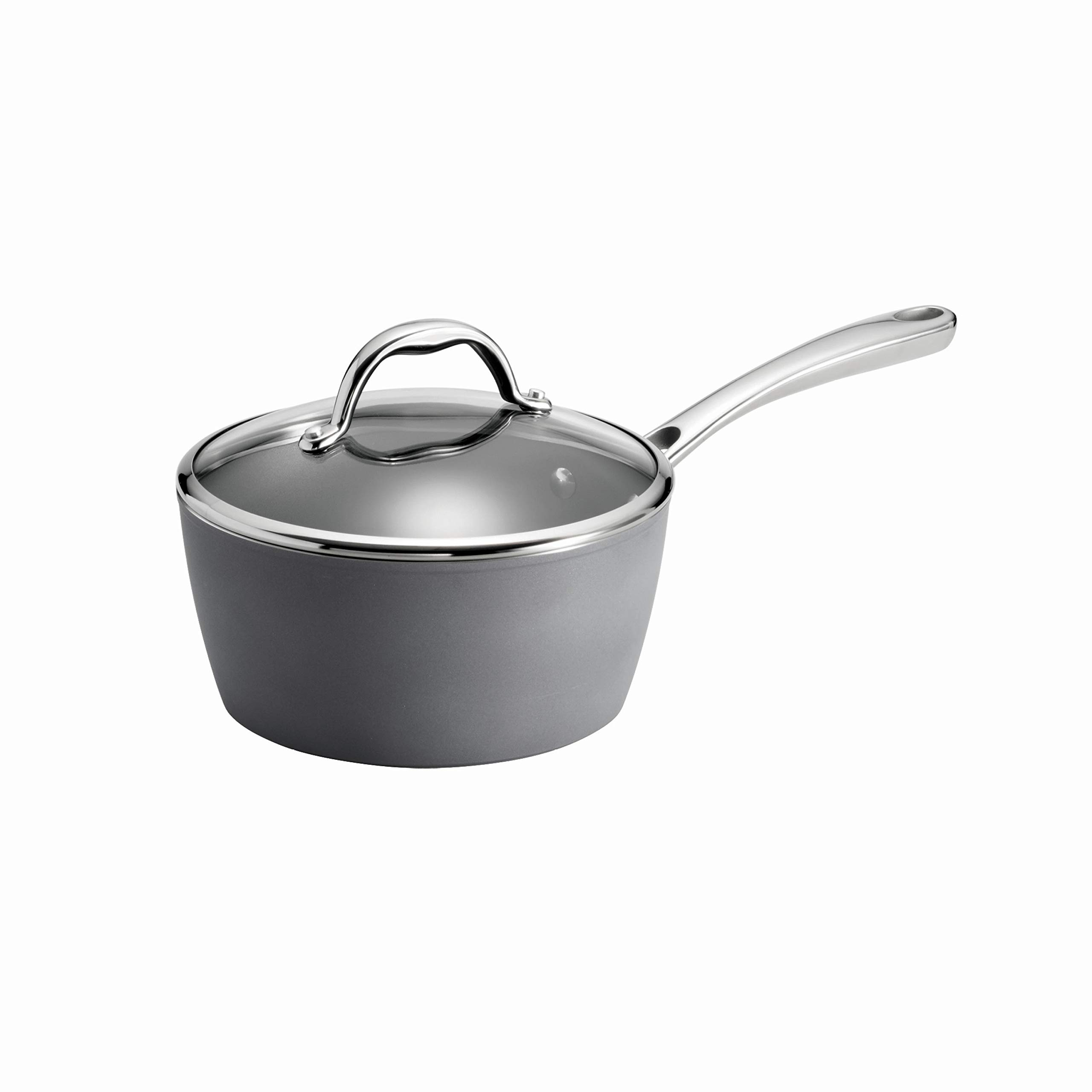 Tramontina 80110/099DS Gourmet Induction Aluminum Nonstick Covered Sauce Pan, Made in Italy, 3 3, 3-Quart, Slate Gray