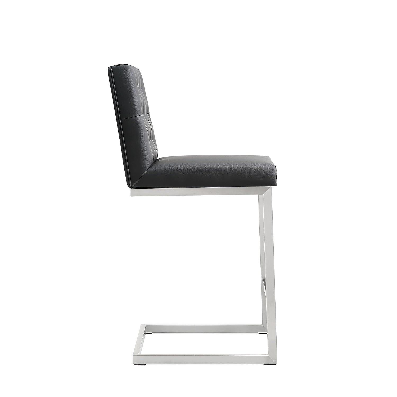 Tov Furniture Helsinki Stainless Steel Counter Stool Set of 2 , Black