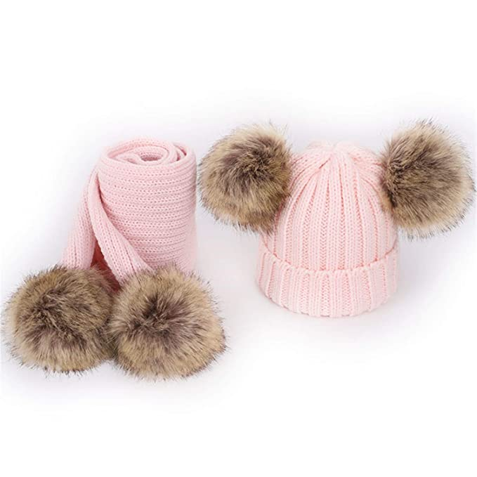 f8f95bedbc8 Amazon.com  2018 Children s Pompom Knit Beanies Hat Scarf 2 Pieces Set  Autumn Winter Boy Girl Wool Soft Cap Scarves Baby Kids Cute Pink  Clothing