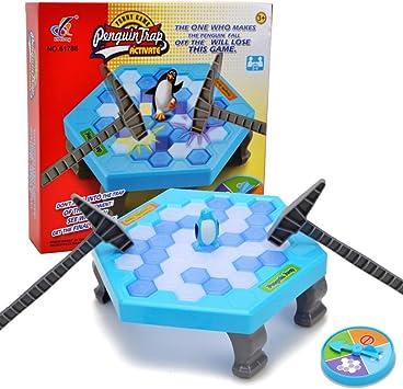 WISHTIME Pingüino Cubos de Hielo Mini Juego de Mesa para niños Equilibrio Hielo Rompecabezas Guardar pingüino rompehielos batiendo Juegos interactivos: Amazon.es: Juguetes y juegos
