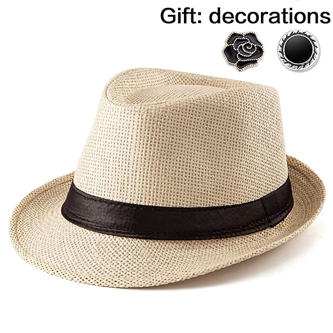 Beach Straw Sun Hat Women Beige Hat For Men Summer Casual Fedora