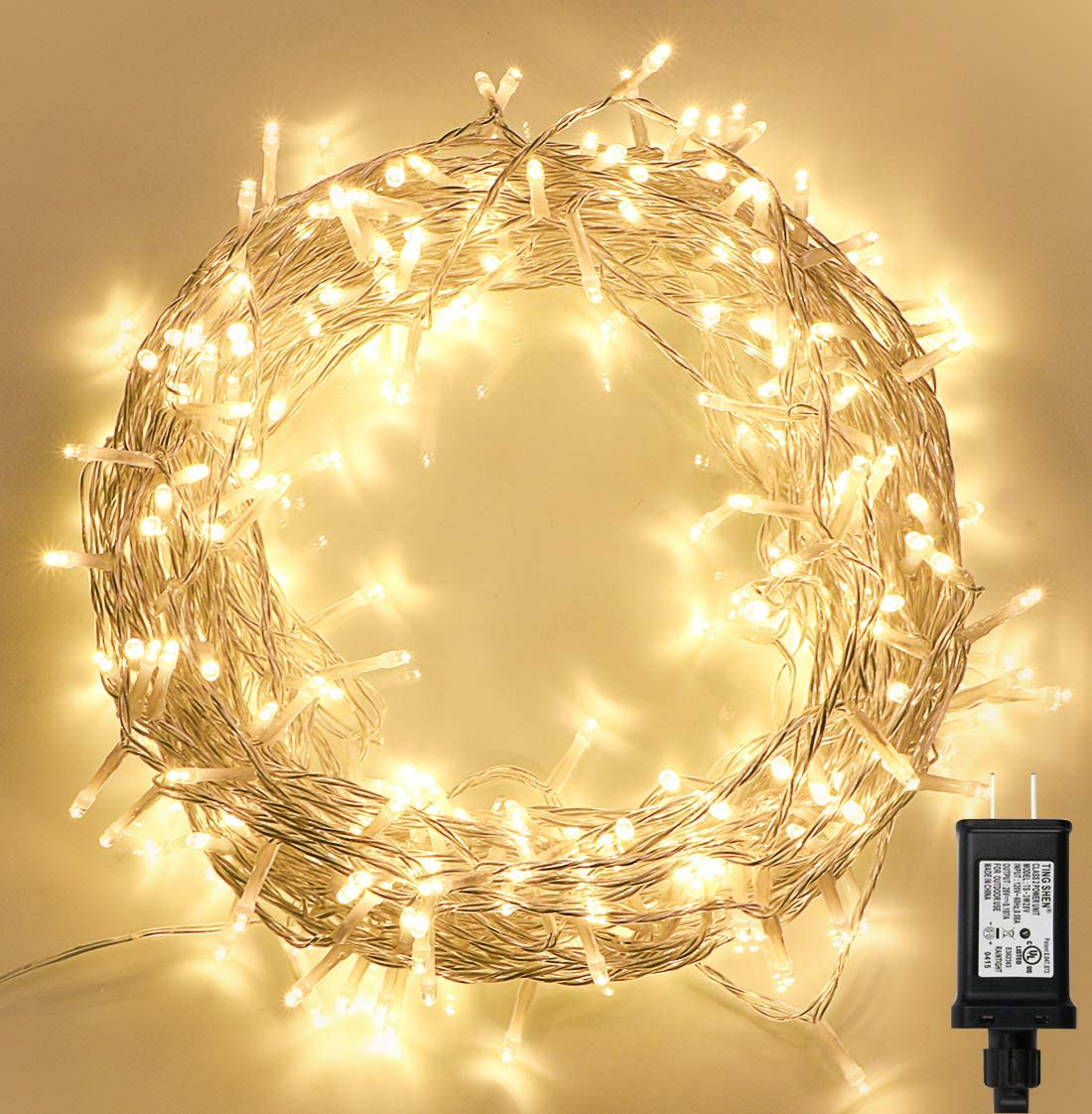 300 LED Indoor String Lights with Remote and Timer on 108ft Clear Fairy Lights for Bedroom, Christmas Decoration (8 Modes, Dimmable, Low Voltage Plug, Warm White)
