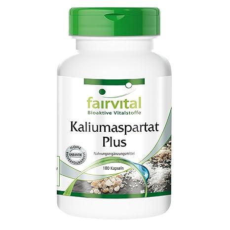 Aspartato de potasio Plus - para 1 mes - VEGANO - Alta dosificación - 180 Cápsulas