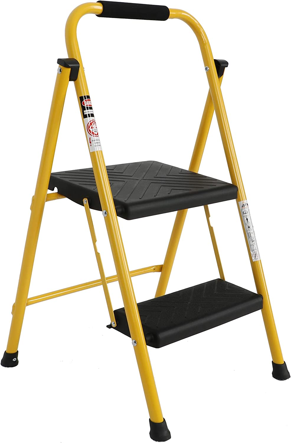 EFINE 2 Step Ladder, Oversized Pedal and Position Lock, High Grade Steel with Smooth Powder Coating, Sturdy and Lightwight, Holding up to 500lbs. (Yellow) - -