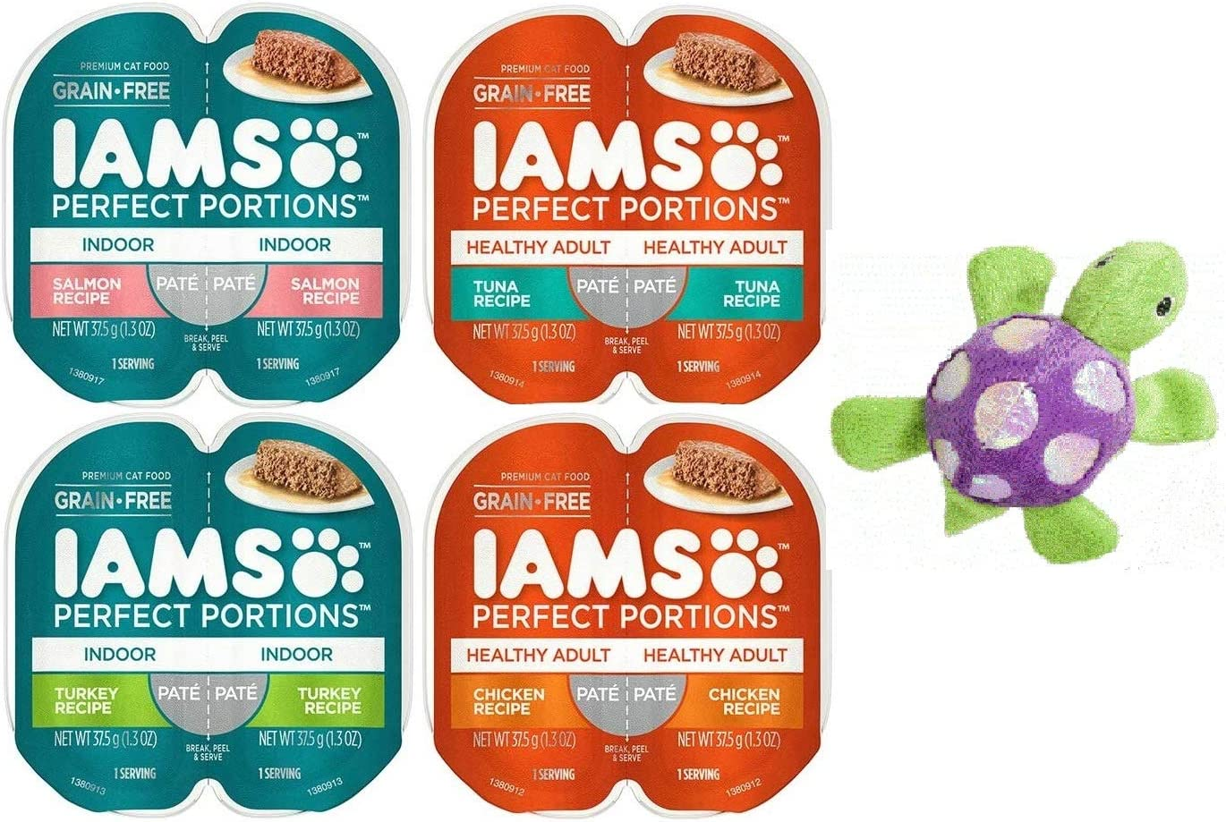 Iams Perfect Portions Grain Free Pate Cat Food, 4 Flavor Bundle (8 Servings) ~ Includes 1 Each of Tuna, Chicken, Salmon, and Turkey ~ Plus a Turtle Cat Toy with Catnip!