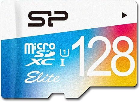 TALLA 128 GB. Silicon Power Elite - Tarjeta de memoria con adaptador SD, 128 GB, micro SDXC UHS-1 Class 10, velocidad de lectura hasta 75 MB/s, Flash